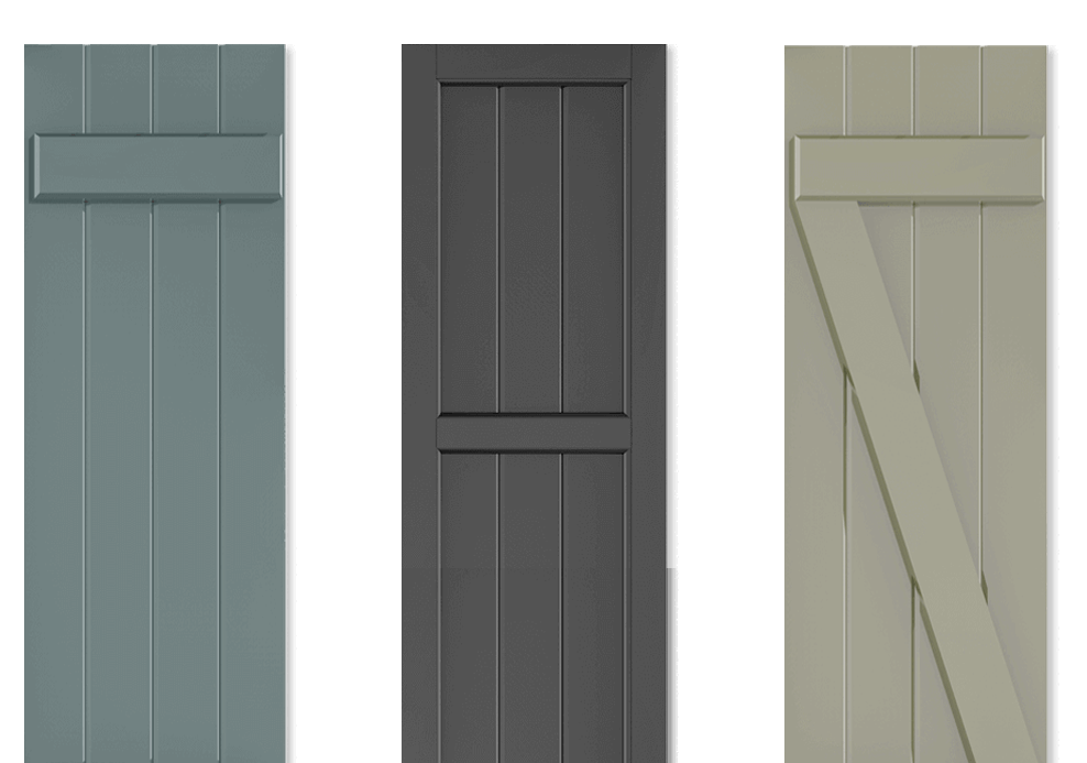 Adorned Openings' offers multiple board and batten exterior shutters that can be easily personalized by you.