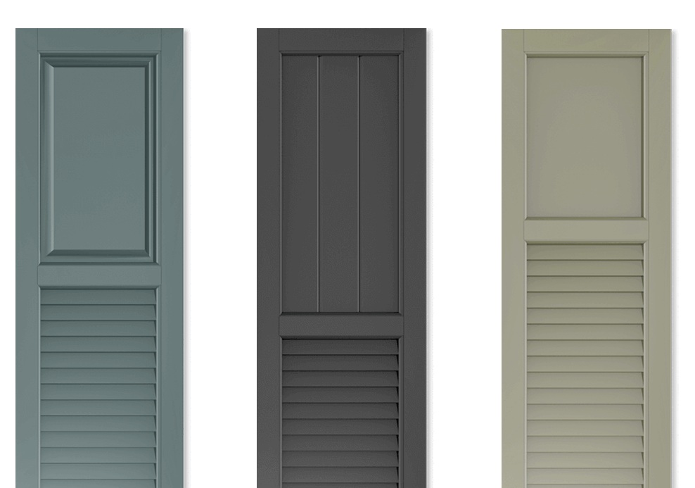Adorned Openings composite wood shutters are durable and are handcrafted to capture the details you crave