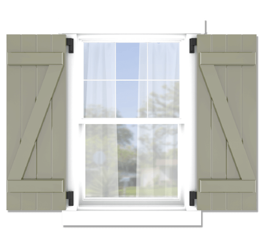 Adorned Openings offers both fixed or functional shutter hardware for your z brace board and batten shutters