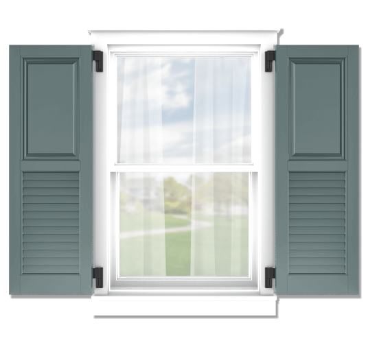Adorned Openings offers both fixed or functional shutter hardware for your raised panel and louver combination shutters