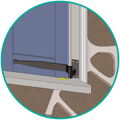 Step 2 of Adorned Openings' functional exterior shutter installation is align streap & pintle