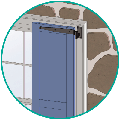 Step 5 of Adorned Openings' functional exterior shutter installation is install remaining strap & pintle