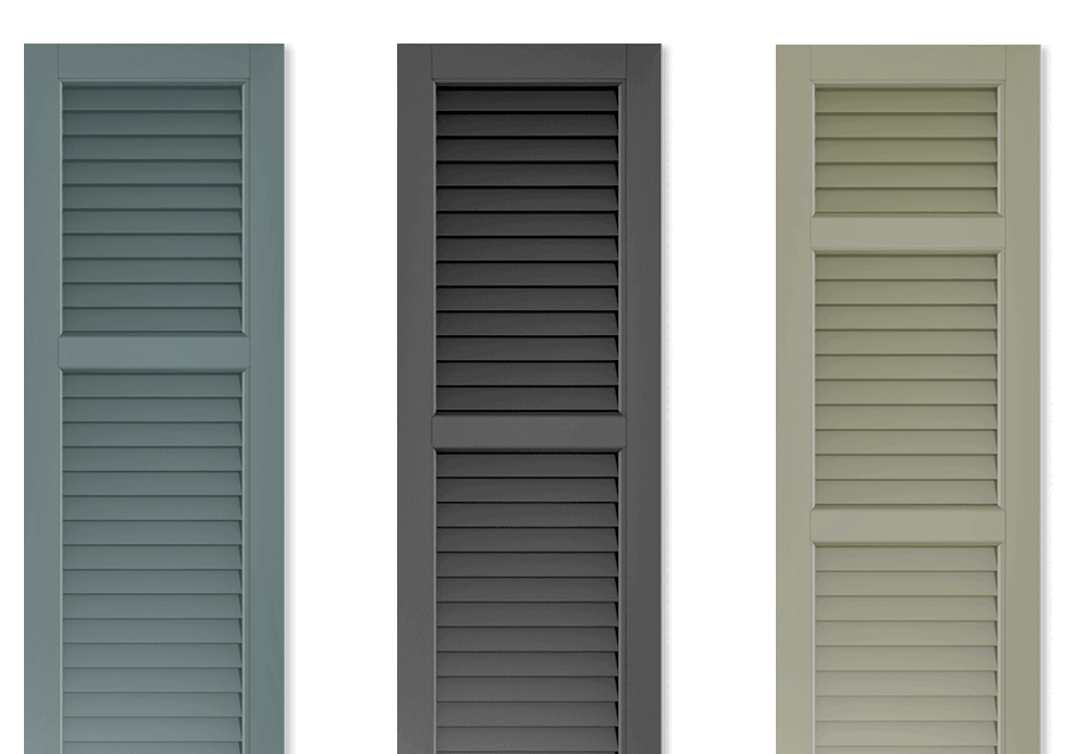 Adorned Openings' offers multiple louver exterior shutters that can be easily personalized by you.