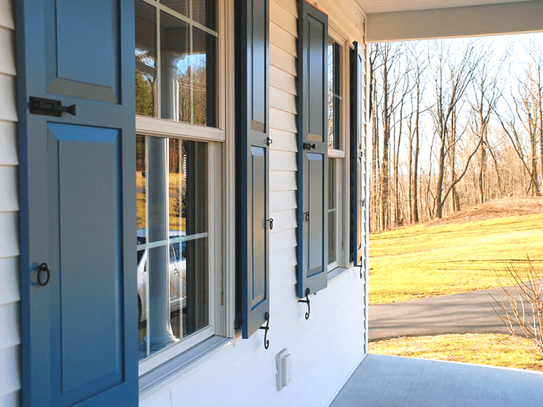 Adorned Openings composite wood shutters can be installed as fixed mount or functional with shutter hardware