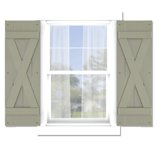 Adorned Openings offers both fixed or functional shutter hardware for your x brace board and batten shutters