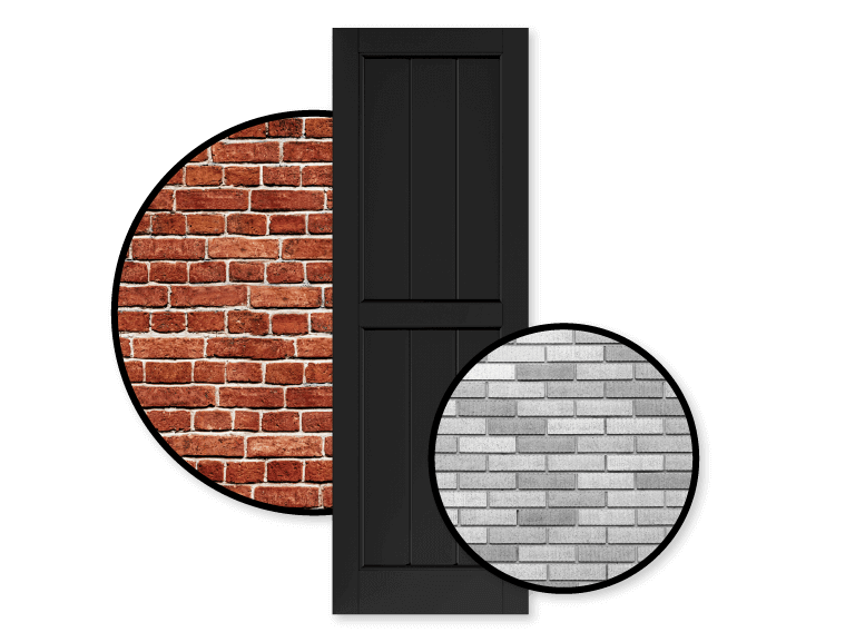 black shutter with red and gray color schemed brick home exteriors