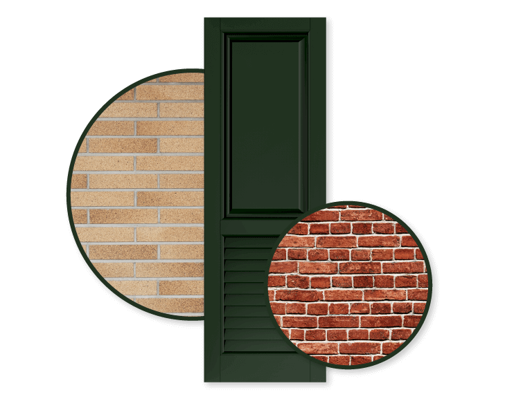 green shutter with tan and red color schemed brick home exteriors