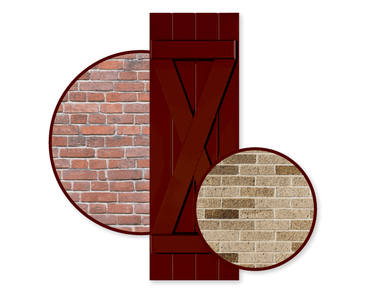 red shutter with red and tan color schemed brick home exteriors