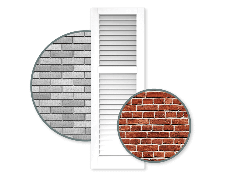 white shutter with gray and red color schemed brick home exteriors