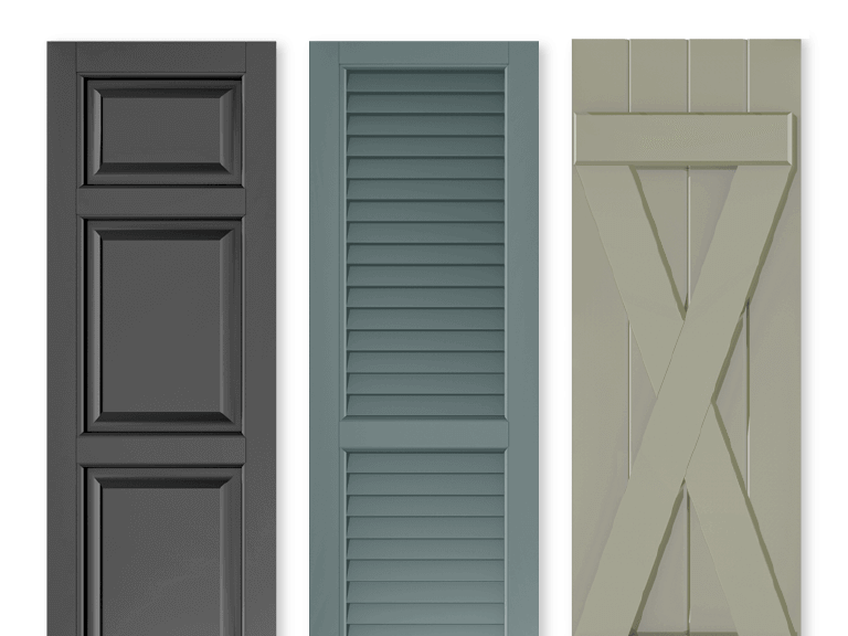 three options of Adorned Openings shutter styles including panel, louver, and board & batten