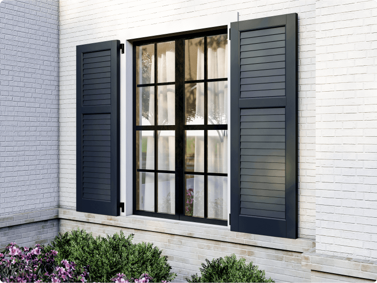 white brick home featuring Adorned Openings louver shutters with functional shutter hardware