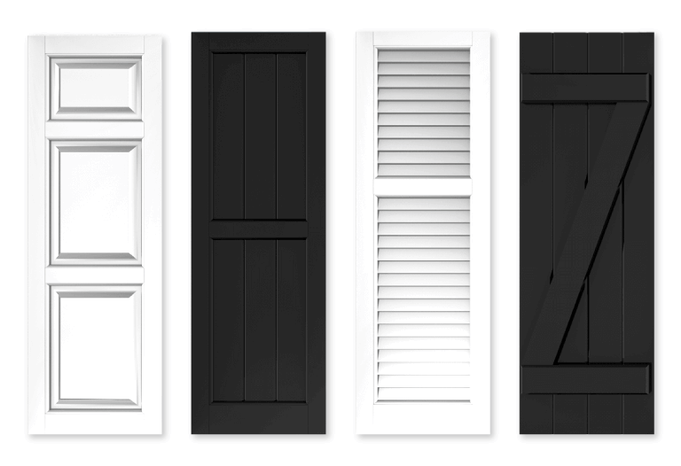 black and white Adorned Openings exterior shutters provide a clean, classic look that pairs with common home exterior color schemes