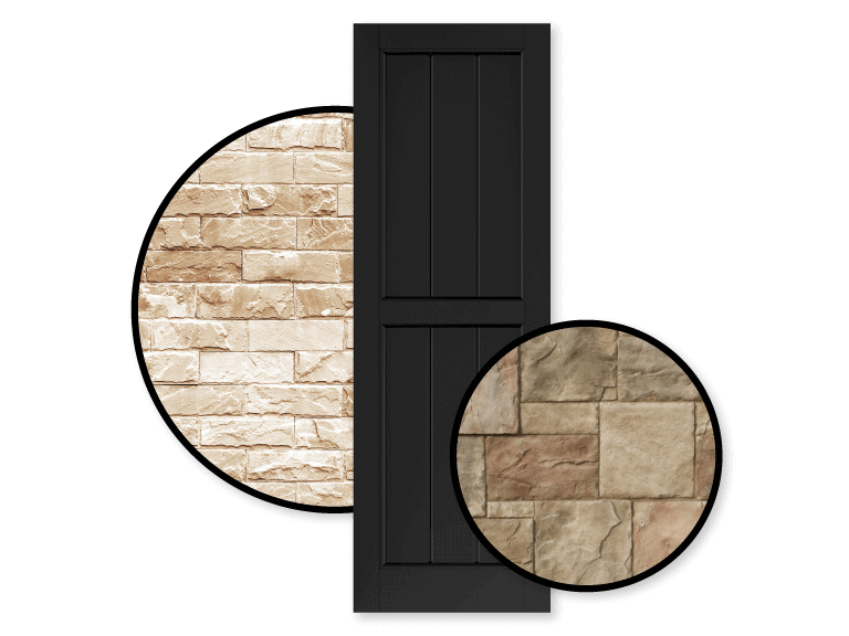 Adorned Openings black shutters are great for tan homes as they are low maintenance and require little upkeep