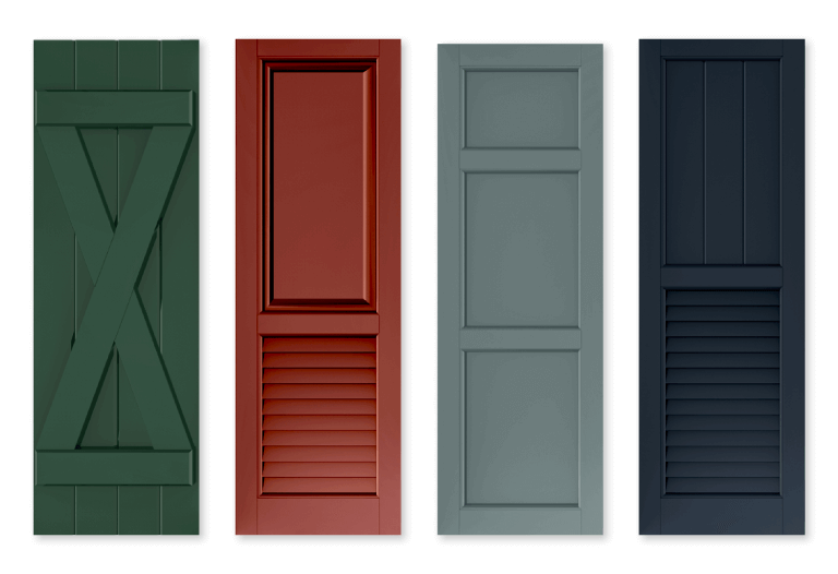 Adorned Openings offers bold shutter colors which include red, green, and blue that helps make homes stand out for all the right reasons