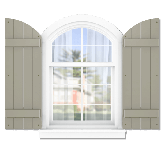 Adorned Openings offers both fixed or functional shutter hardware for your arch top board and batten shutters