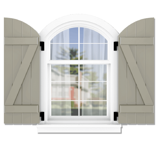Adorned Openings offers both fixed or functional shutter hardware for your arch top board and batten z brace shutters