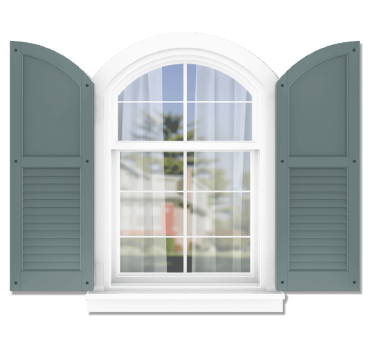 Adorned Openings offers both fixed or functional shutter hardware for your arch top 50/50 flat panel louver combination shutters