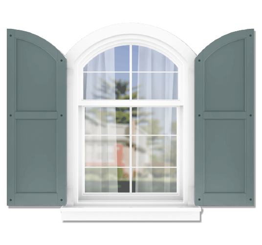 Adorned Openings offers both fixed or functional shutter hardware for your arch top 50/50 flat panel shutters