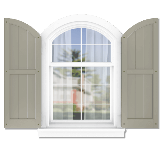 Adorned Openings offers both fixed or functional shutter hardware for your arch top 50/50 framed board and batten shutters