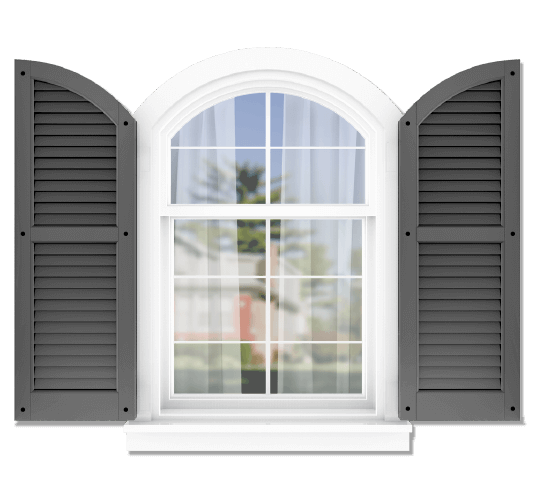 Adorned Openings offers both fixed or functional shutter hardware for your arch top louver shutters