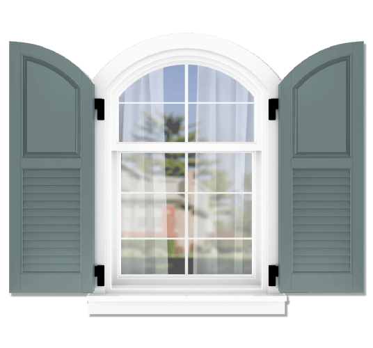 Adorned Openings offers both fixed or functional shutter hardware for your arch top 50/50 raised panel louver combination shutters