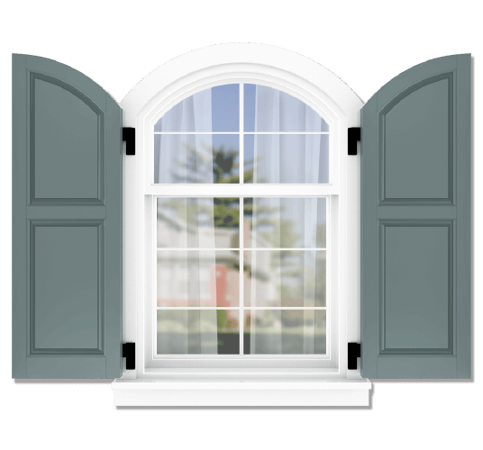 Adorned Openings offers both fixed or functional shutter hardware for your arch top raised panel shutters