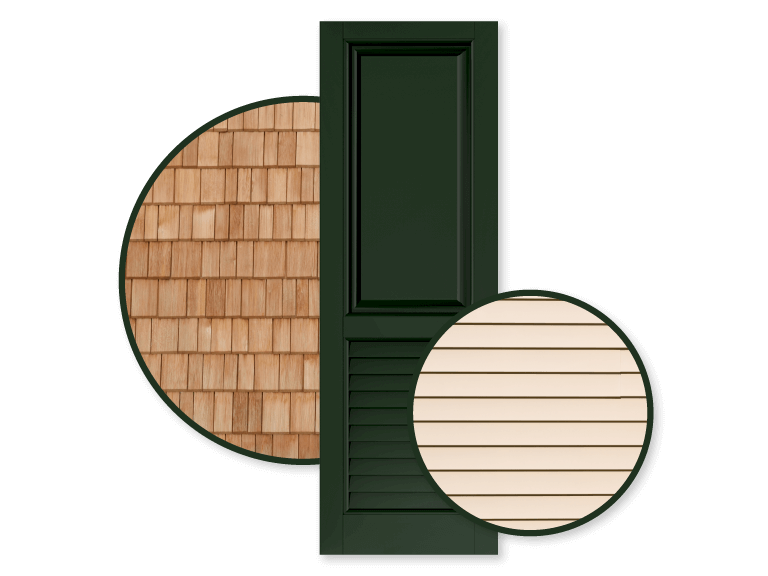 Adorned Openings green shutters are great for tan homes as they allow your home's tan exterior to truly shine with personality.