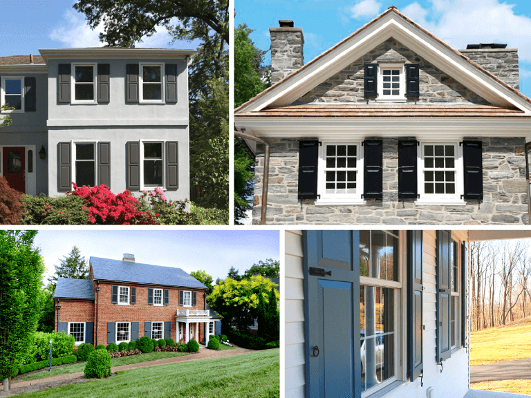 collage of four homes featuring Adorned Openings custom exterior shutters ranging from panel shutters to louver shutters