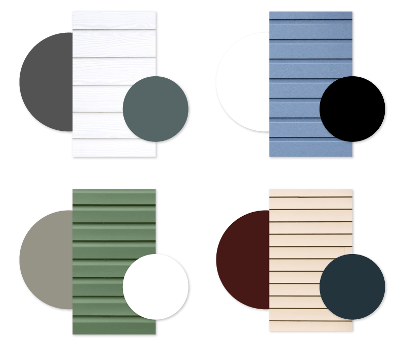 4 examples of home exterior colors with multiple exterior shutter color recommendations