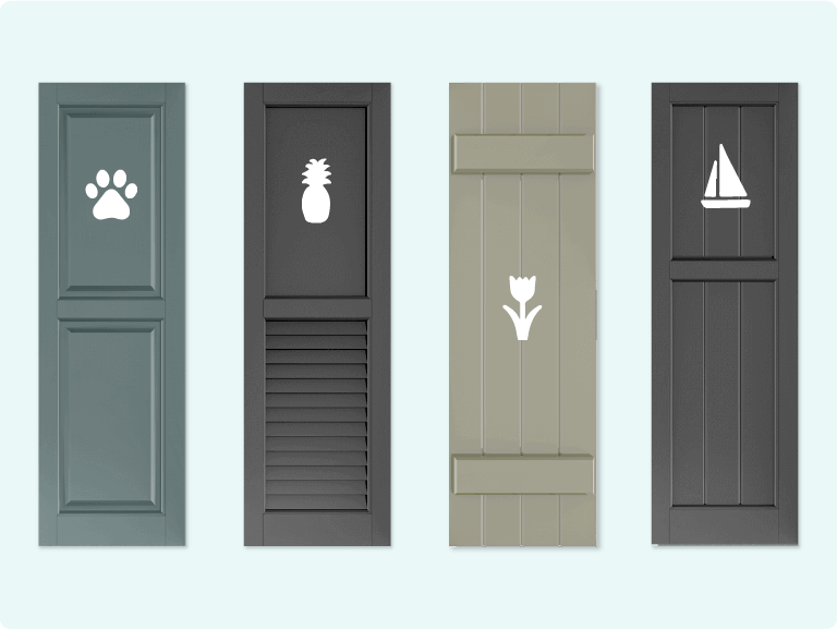 Adorned Openings offers an array of shutter cutout designs that add even more personality to your exterior shutters