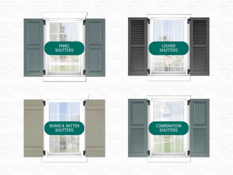 Adorned Openings carries the most popular exterior shutter styles, including panel shutters, louver shutters, board & batten shutters, and combination shutters
