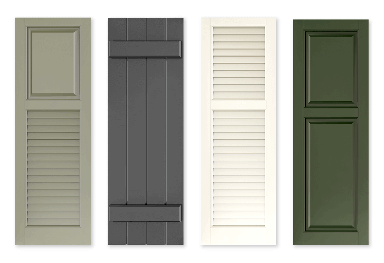 Adorned Openings offers subtle shutter colors which include, soft blues, muted greens, tan, and gray for those interested in a more subdued home exterior color scheme