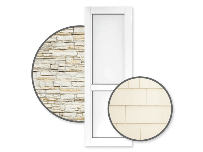 Adorned Openings white shutters are great for tan homes as they are a classic fit, cost-effective, and are easy to touch up.