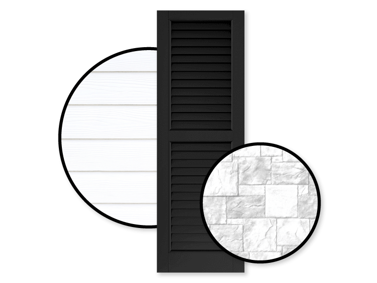 black shutters with white siding and white brick home exteriors