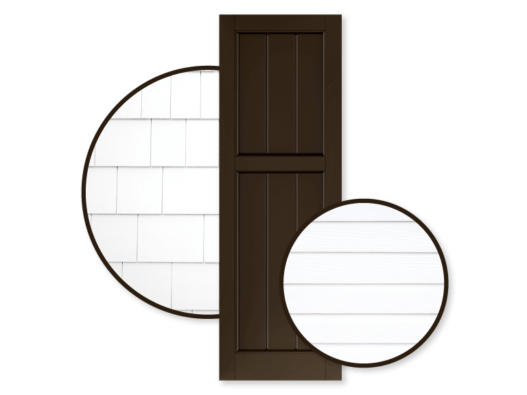 brown shutters with white siding and white shingle home exteriors