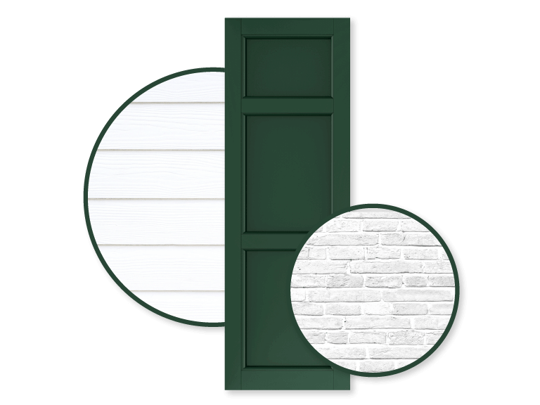 green shutters with white brick and white siding home exteriors